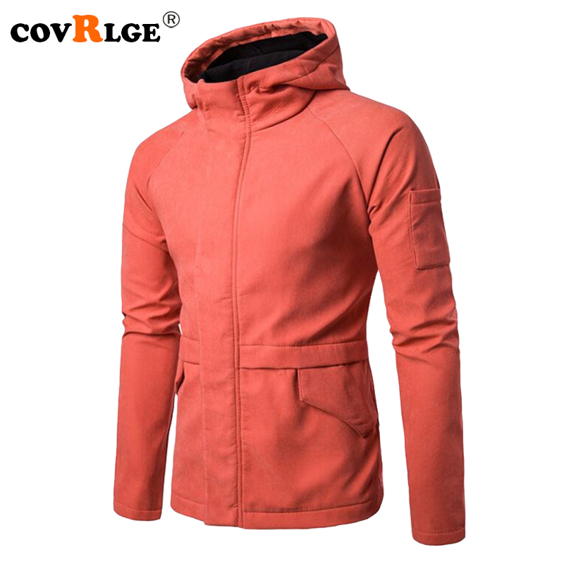 Covrlge Men Jacket 2018 Autumn New Mens Hooded Jackets Fashion Solid Slim Fit Coats Man Casual Overcoat Brand Clothing MWJ099
