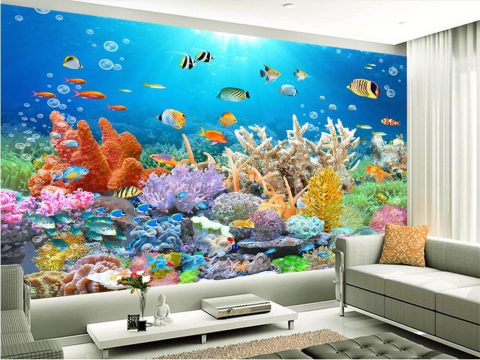 Custom 3d wallpaper photo wallpaper living room mural for Aquarium mural wallpaper