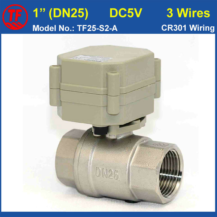 DC5V 3 Wires 2 Way Stainless Steel DN25 Full Port Water Electric Valve BSP/NPT 1'' Metal Gear Motorized Valve High Quality tf20 s2 c high quality electric shut off valve dc12v 2 wire 3 4 full bore stainless steel 304 electric water valve metal gear