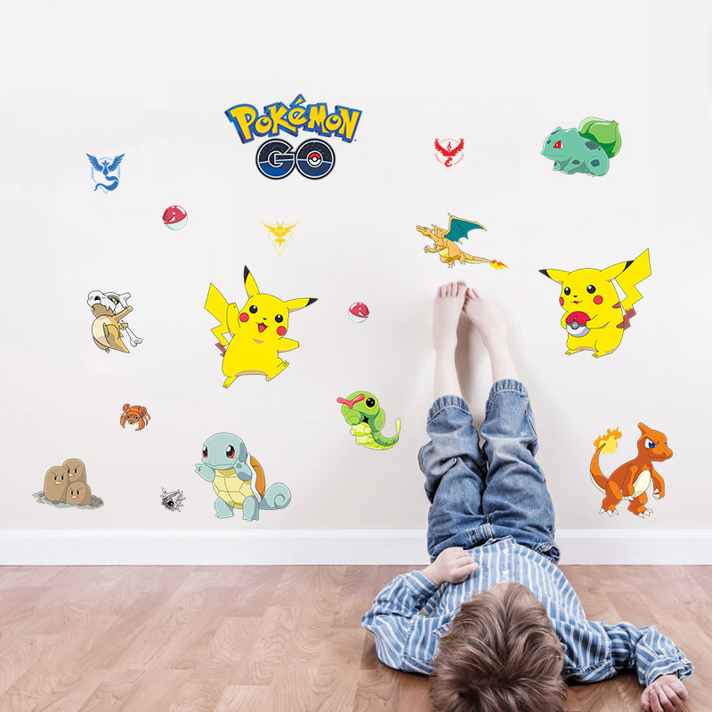 Pocket Monster Pokemon home decals wall sticker cute Pikachu Charmander Wartortle popular Game Cartoon wallpaper for kids room