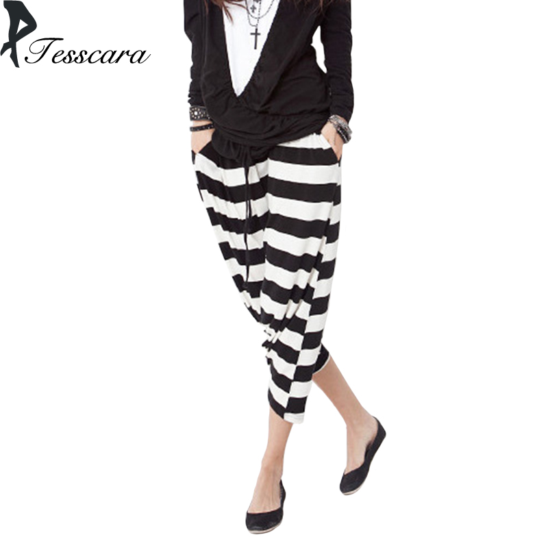 Brand Women Fashion Hip Hop Pants Female Loose Drawstring Striped Black Dance Bottoms One size Yong Girl Pants$capris