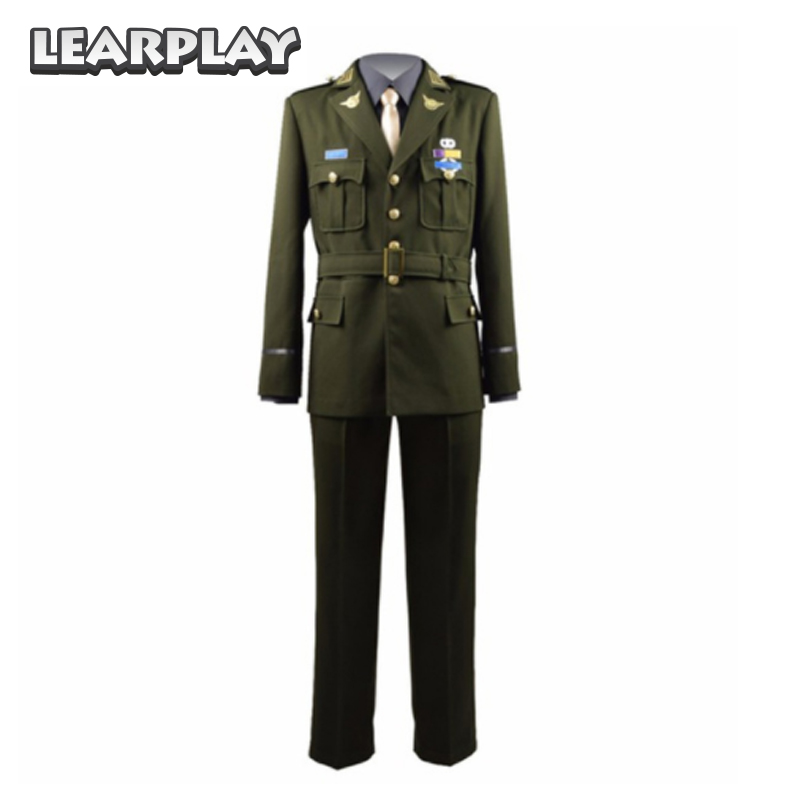Captain America Steve Rogers WWII Cosplay Costumes Man Army Uniform Green Jacket grey shirt Tie Pants Full Set