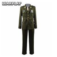 Captain America Steve Rogers WWII Cosplay Costumes Man Army Uniform Green Jacket grey shirt Tie Pants Full Set