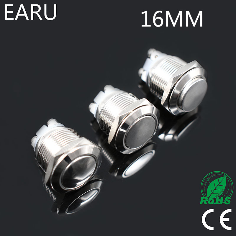 16mm Metal Push Button Switch NO Momentary Reset Self-reset Brass Nickel Plated Screw Car Engine PC Power Round Flat High Head