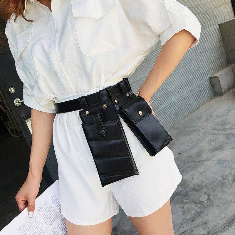 2 Pcs Women Waist Bag Hip Hop Leather Waist Belt Bags Tactical Crossbody Chest Bag Female Fanny Pack Small Luxury Waist Pack