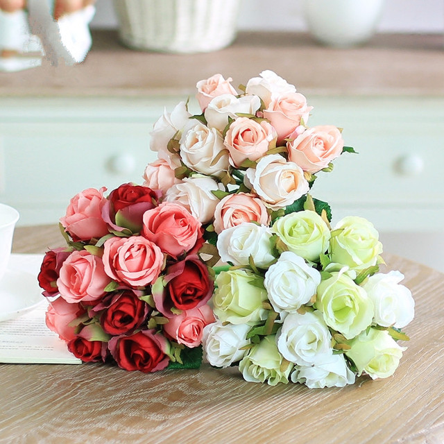 Pretty charming delightful 12 buds 1 bouquet mini rose artificial pretty charming delightful 12 buds 1 bouquet mini rose artificial silk flower wedding bride bridal home mightylinksfo