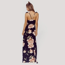 Floral Print Backless Split Maxi Dress