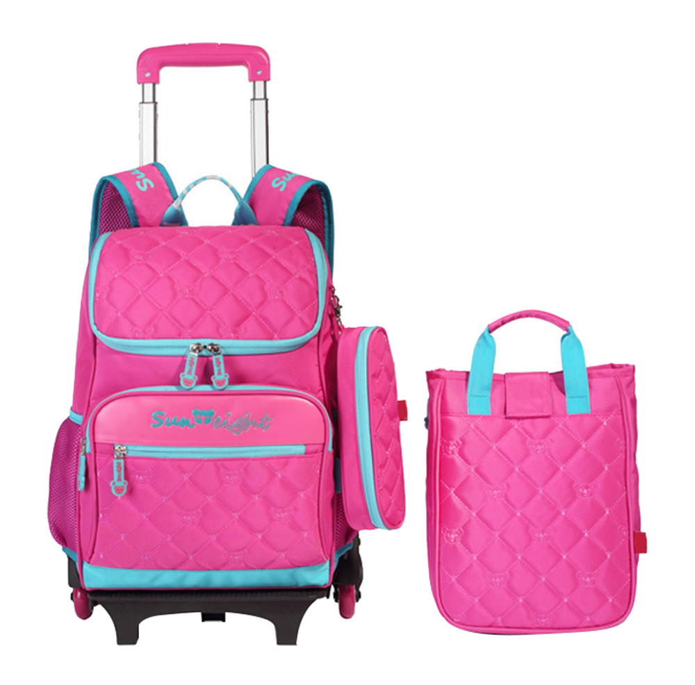 2/3 pcs Kids backpacks with wheels Detachable travel trolley bookbag children school bags for girls pencilcase Mochilas Escolare