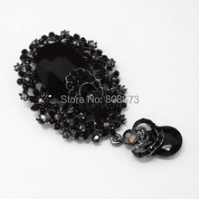 Прямая с фабрики, дешевая цена, Ретро стиль, черный кристалл, Винтажная брошь, 3,2 дюймов, большая, в форме капли воды, кристалл, капля, брошь