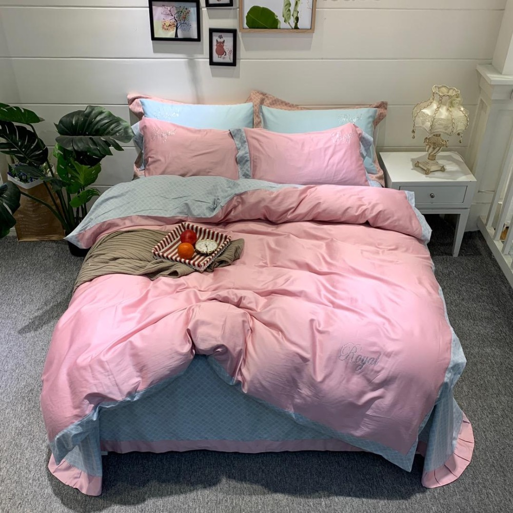 Bedding Set Luxury pink Bed Set printing Bed Sheet bamboo fiber Duvet Cover Set Queen King Size egyptian cotton Bed Linen