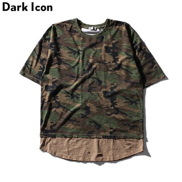 b06197af061 Bamboo Material Patchwork Camouflage Tshirt Men 2017 Summer Curved Hem Camo  T-shirt Oversize Mens