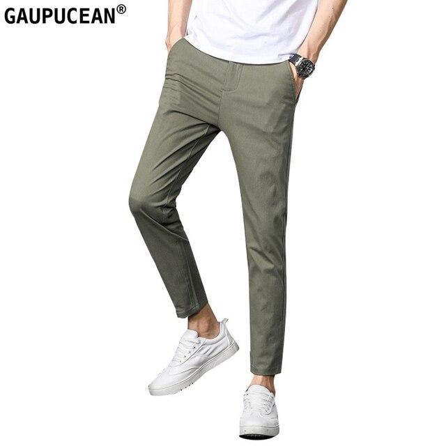 Men ANKLE Length Trousers 98.2% cotton 1.8% spandex Summer Thin Zipper Green Grey Black Slim Male Young Man Pencil Ninth Pants 1
