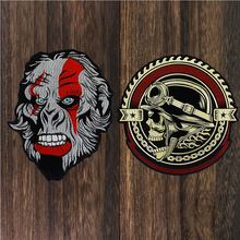 Gear Skull Sketon Patches Gorrila Head Applique Iron on Embroidery Biker Stickers Clothes Jacket Motorcycle Backpack Badge 1pc