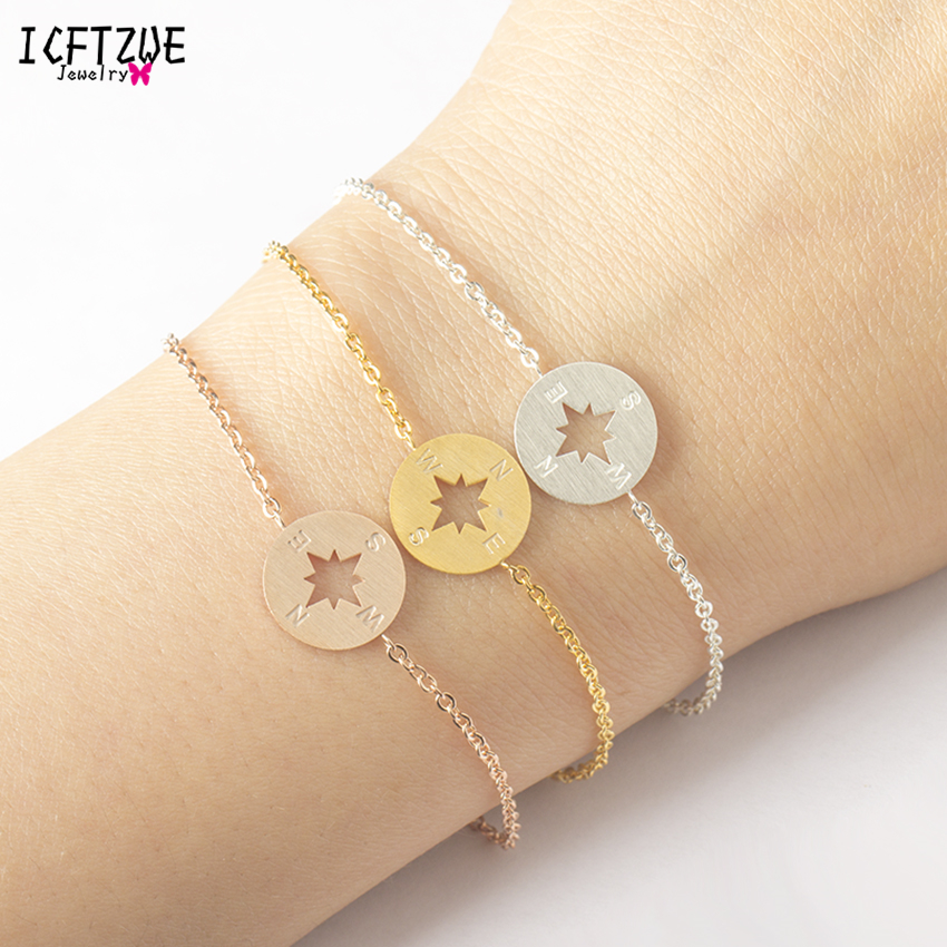 ICFTZWE Famous Brand Jewelry Stainless Steel Bracelet Men Geometric Round Colour Gold Colour Compass Bracelet For Women Pulseras