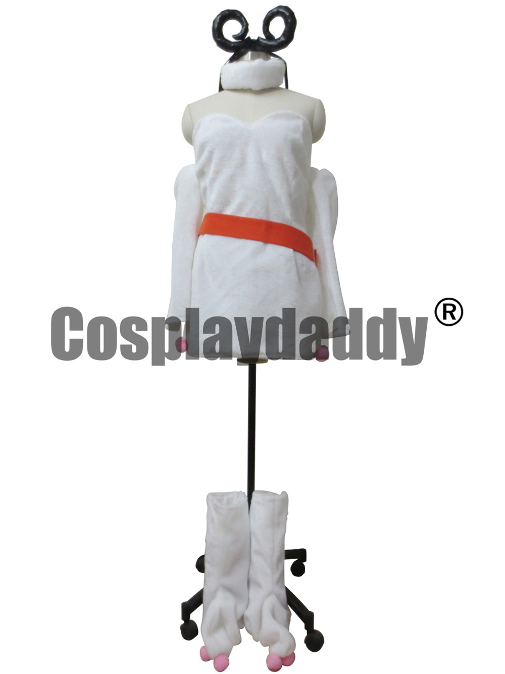 Fairy Tail Cosplay Aries White Clothes With Red Belt Costume