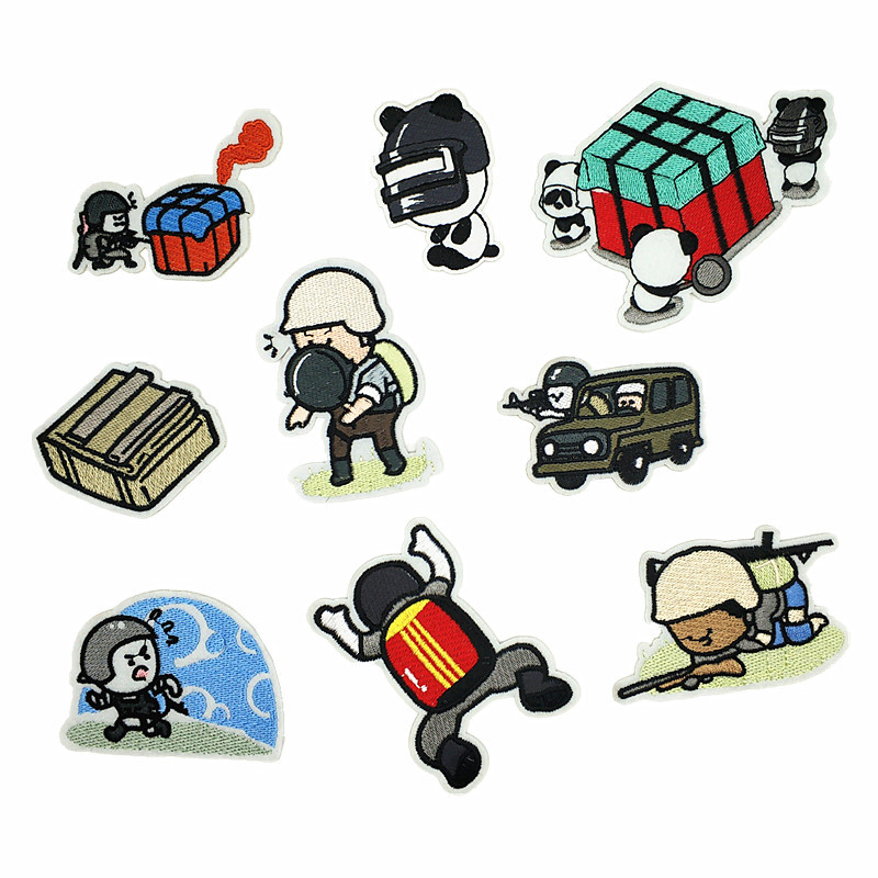 PUBG Cartoon Game Patch Iron on Patches Applique for Clothing DIY Embroidery Badges Crafts Sewing WINNER WINNER CHICKEN DINNER image