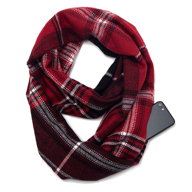 2019 New Twill Plaid Scarf With Pocket Convertible Journey Women Wrap Shawl Hidden Zipper Pocket Infinity Travel Winter Scarves