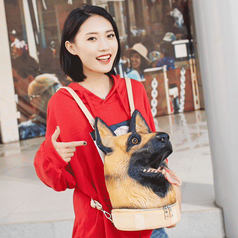Fashion Personality 3D Solid lifelike Wolfhound Head Animal backpack Halloween Cool Travel Soft School Bags Teenage hiphop