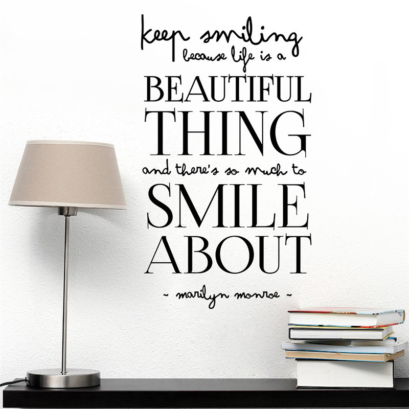 Marilyn Monroe Famous Quote Beautiful Thing Smile Home Decals Wall Stickers For Living Room Decorative Girls Bedroom Shop Mural In From