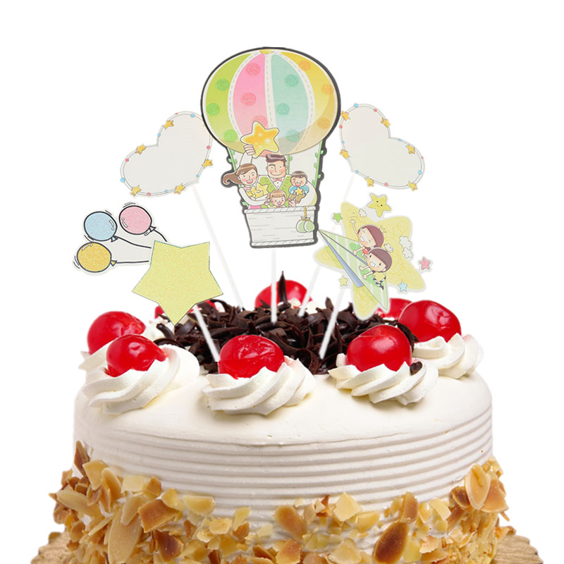 Happy Birthday Cake Topper Flags Hot Air Balloon Cloud Fish Kids Cake Toppers Wedding Baby Shower Party Baking DIY Decor Xmas in Cake Decorating Supplies from Home Garden
