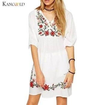 911d63e9b Moda mujer mexicano estilo étnico bordado Pessant Hippie blusa verano  gitano señora Boho suelto Mini vestido con cuello en V vestidos Sep28
