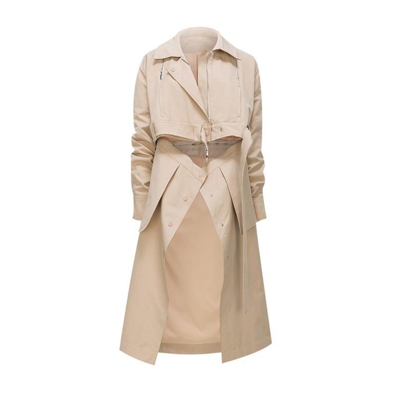 Las Chaqueta Desgaste Coat Otoño Con Apricot Mujer Abrigo Dos Nueva Moda Ropa Trabillas Desmontable Cintura Alto Para Mujeres Twotwinstyle Abrigos Trench Y qFAXwzz