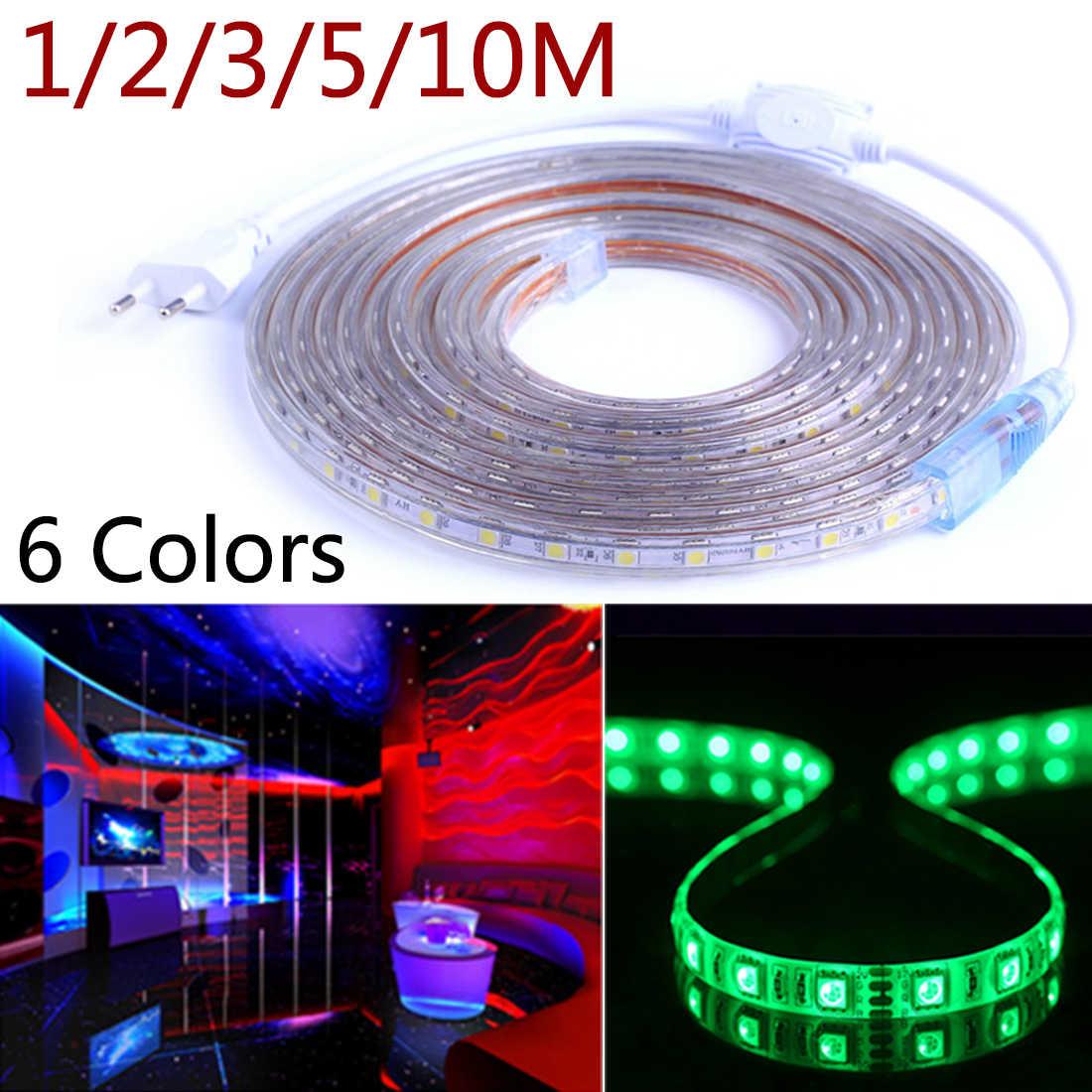Taśmy LED 5050 AC220V 60 diod LED/m 1/2/3/5/10 M elastyczne LED światła RGB RGBW 5050 taśmy LED TV pulpit tła ekranu odchylenie