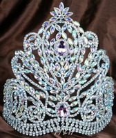 Deluxe 9 Large Tiara Handmade Crown Pink Clear Austrian Rhinestones Diamante Headpiece Beauty Pageant Party Costume
