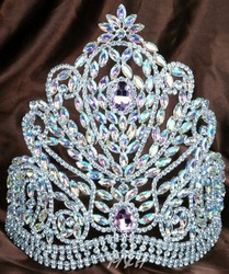 Deluxe 9 Large Tiara Handmade Bridal Crown Pink&Clear Austrian Rhinestones Diamante Headpiece Beauty Pageant Party Costume