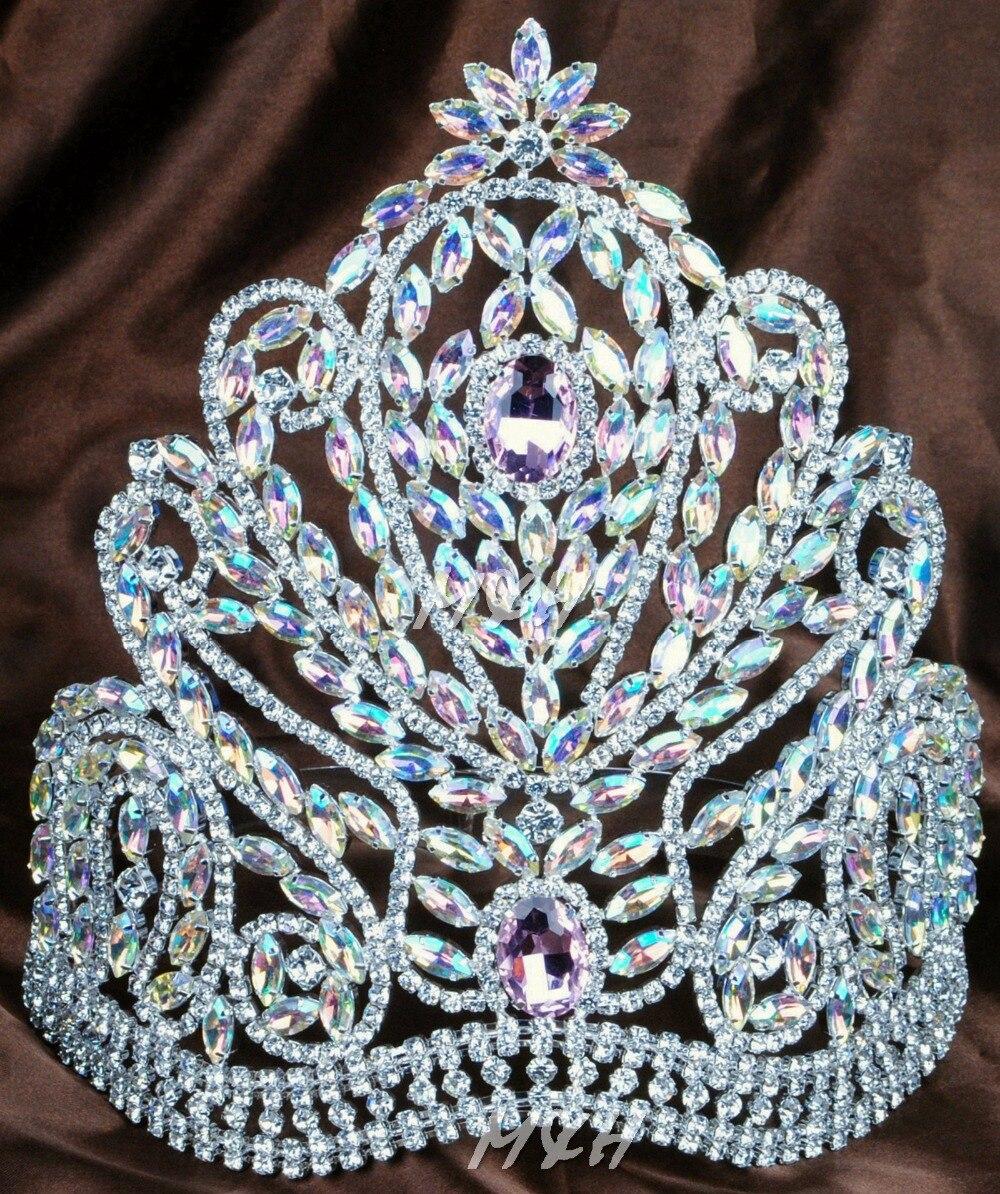 """Deluxe 9 """"grand diadème fait à la main couronne de mariée rose & clair strass autrichien diamant casque beauté Pageant Costume de fête-in Bijoux pour cheveux from Bijoux et Accessoires    1"""