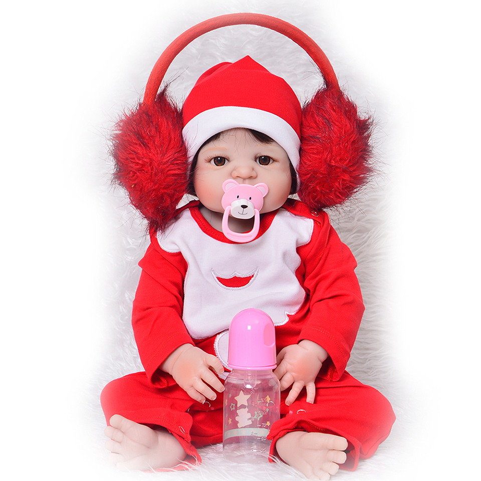 New Realistic Christmas Bebe Bonecas 23 inch Full Vinyl Reborn Baby Dolls Wear Red Rompers Hot Gift For Child Baby Girl Doll Toy 18 inch american girl doll long hair pink dress vinyl real girl bonecas baby alive dolls for girls christmas gift