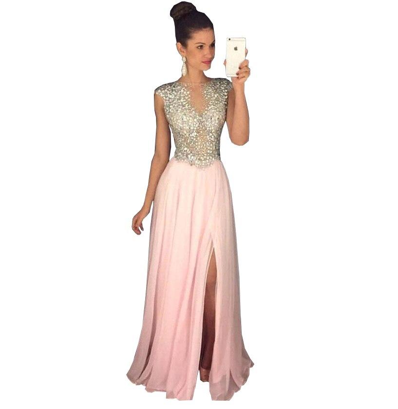 2018 été femmes designer robe sans manches une ligne flash pas cher sexe robe de bal longue rose robes de bal longue robe de princesse