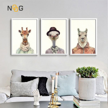 NOOG Anthropopathic Animals Pig Dog Canvas Poster Nursery Wall Art Print Painting Nordic Picture  Bedroom Decoration