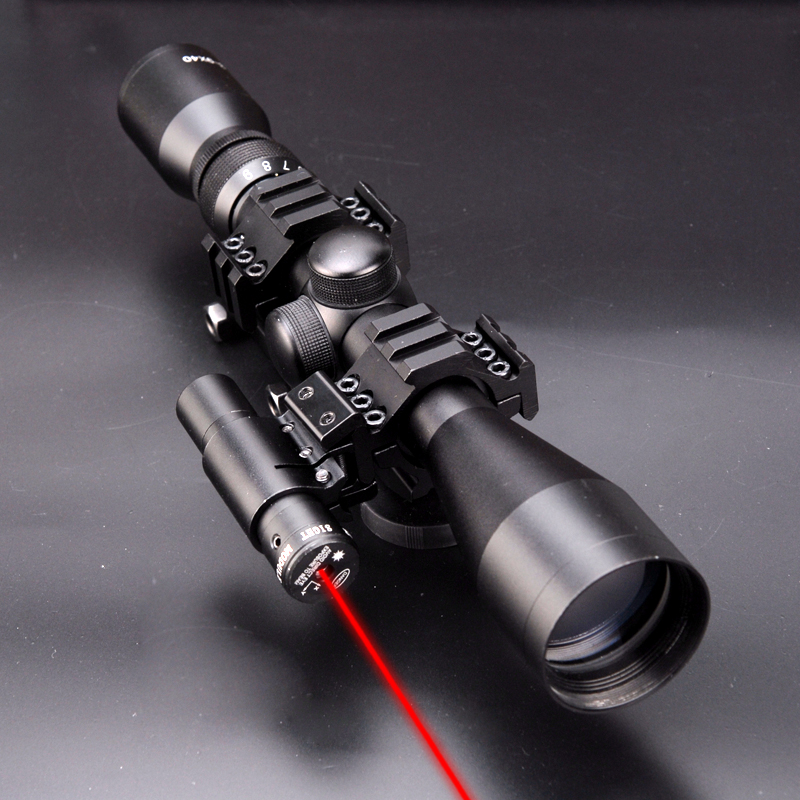 3 in 1 NEW 3-9x40 Hunting Scope Optics+Tactical Red Dot Laser Sights + QD 3 Side Rail Mounts for rifle airsoft ship from us new 3 9x40 illuminated rifles scope with red laser