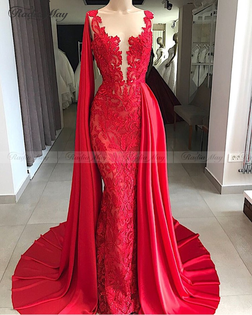 Red And White Lace Prom Dress: Elegant Long Red Mermaid Lace Evening Dress With Cape Hot