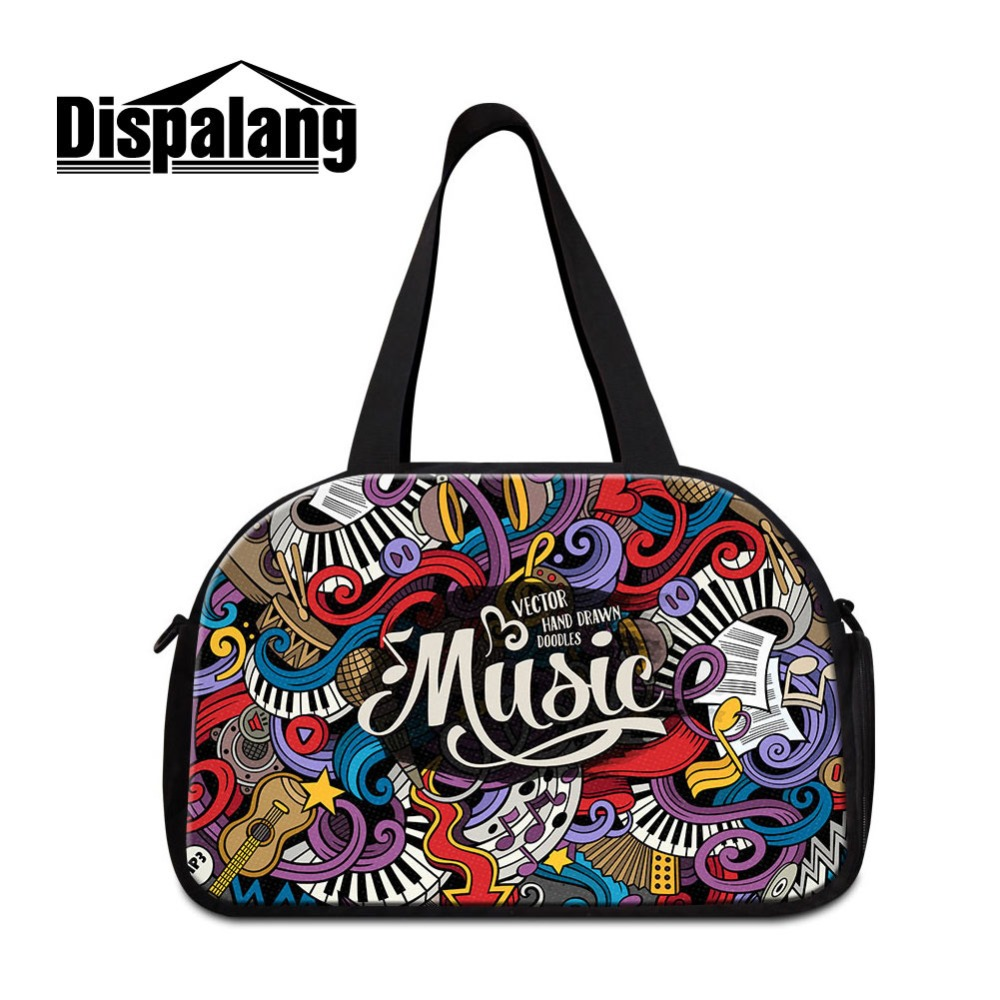 Dispalang Customized Travel Tote Bag for Women Art Music Design Shoulder Duffle Bags Compartment Personalized Travel Accessories