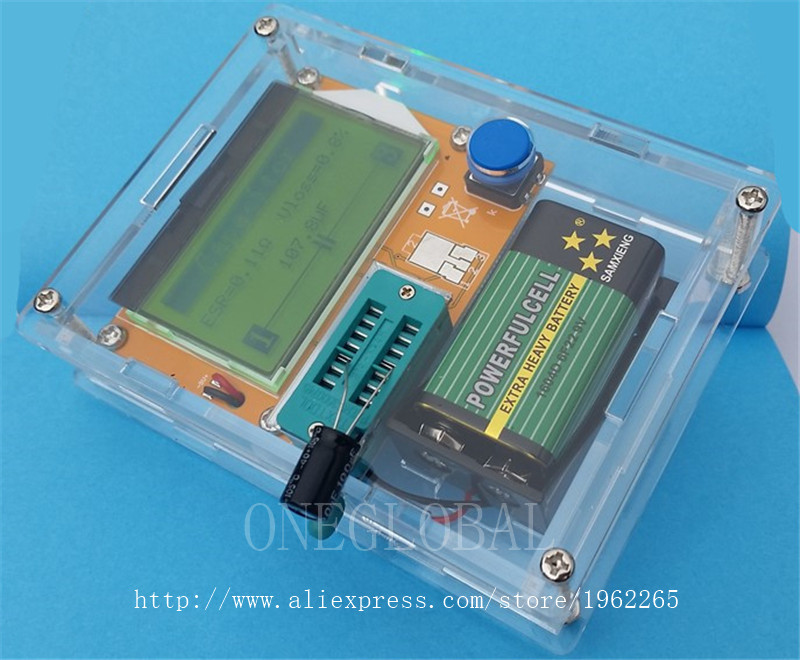 12864 LCD- ATmega328 Transistor Tester Diode Triode Capacitance ESR METER Digital LC Meter MOS NPN case (not Battery ) ...