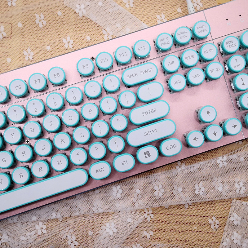 abs usb wired typewriter steam punk style keyboard with round glowing keycaps for pc laptop