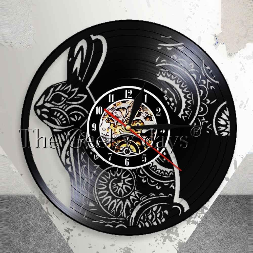 Kelinci Bunga Mandala Hewan Dinding Watch Clock Kelinci Vinyl