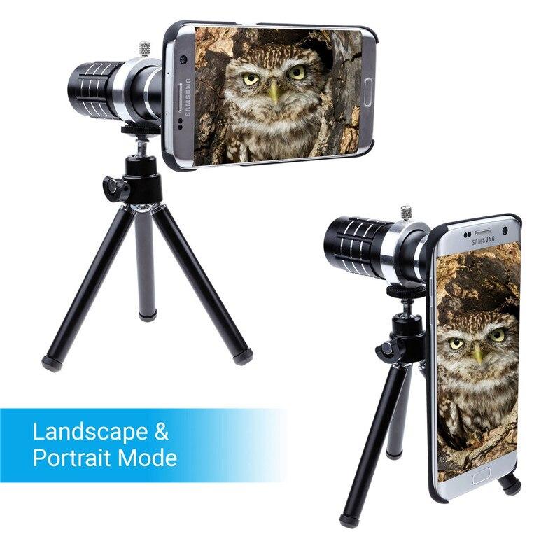 12x Zoom Telescopio Del Telefono Lens + 3 Impressionante Lente + Bluetooth Remote Camera Shutter + Treppiede In Alluminio Per Samsung Galaxy Bordo S6 S7 S9 + - 2