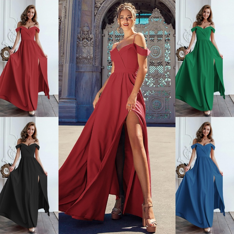 Limited Dress Size Dress Sexy & Club A line Solid Half Ruffles Empire Sale Special Offer Vestidos Mujer Maxi Ankle length