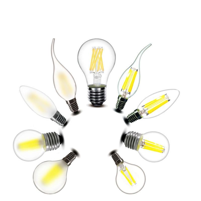 2w 4w 6w 8w E27 E14 Clear LED Bulb A60 G45 C35 B10 220v AC LED candles Lamp Frosted Filament light 230v AC 1pcs e27 e14 220v 230v 240v a60 g45 c35 2w 4w 8w warm white led filament candle bulb lamp light