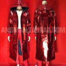 M-6XL! ночной клуб бар мужской певец Новогодняя тема Красный волшебный цвет длинное Свободное пальто сценические костюмы