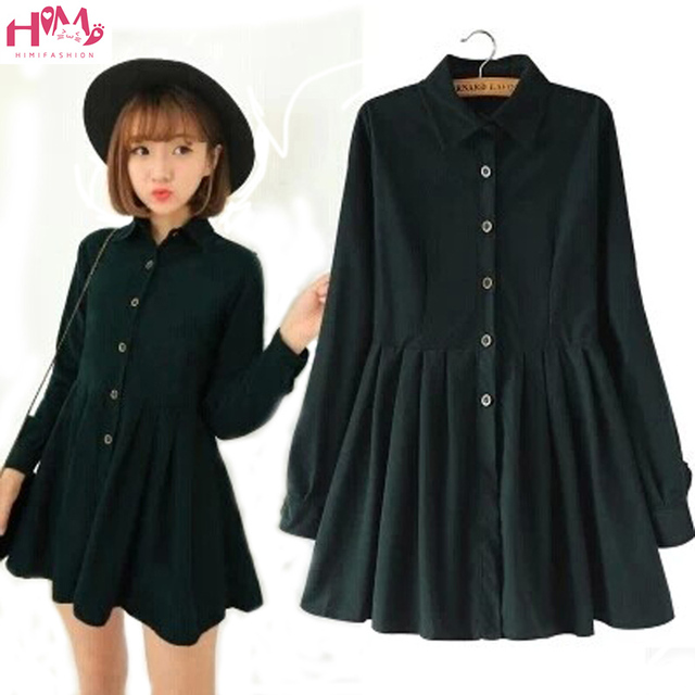 Japanese Korean Style College School All Match Corduroy Dress Lady Long  Sleeve Sweet Navy 2017 Fashion 9b297527c24e