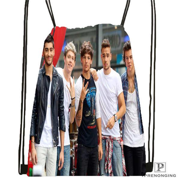 Custom One Direction@02-  Drawstring Backpack Bag Cute Daypack Kids Satchel (Black Back) 31x40cm#180611-01-39