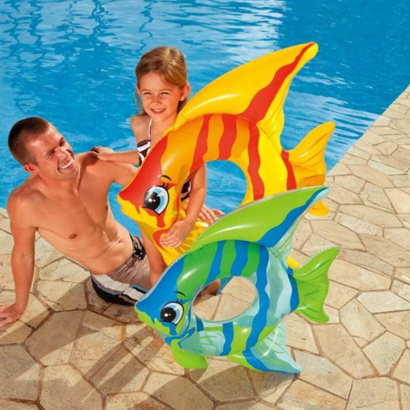 Cartoon Fish Safety Children Swim Floating Ring For 3-6 Years Old Kids Thicken Inflatable Swimming Assistant Accessories A027