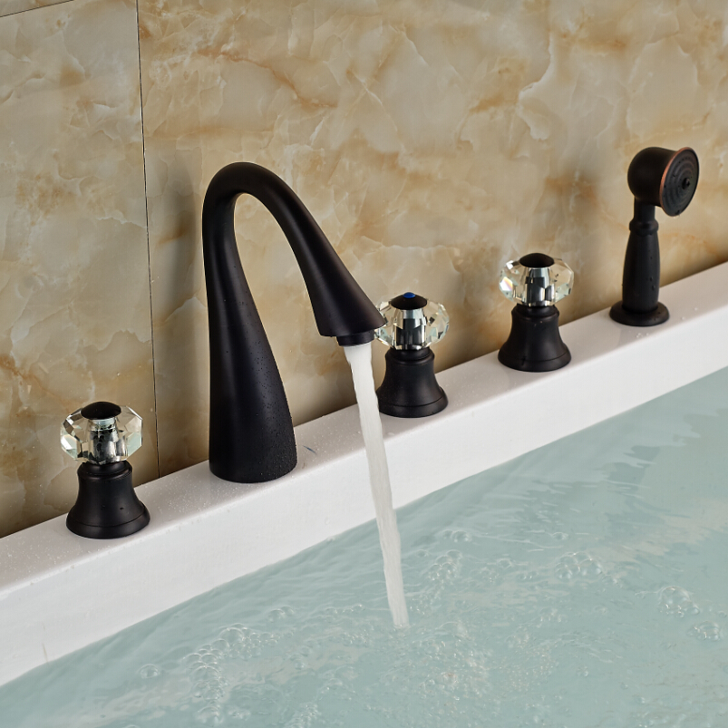 Factory Direct Sale High Quality Deck Mounted 5pcs One Set Bath Tub Faucet Oil Rubbed Bronze