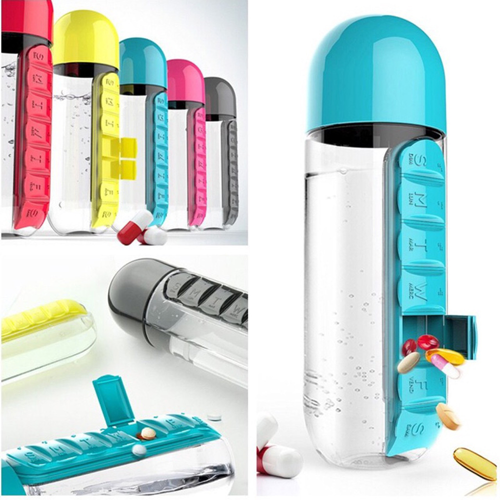 Sports Bottle With Storage Compartment: 600ML My Water Bottle Sports Combine Daily Pill Box