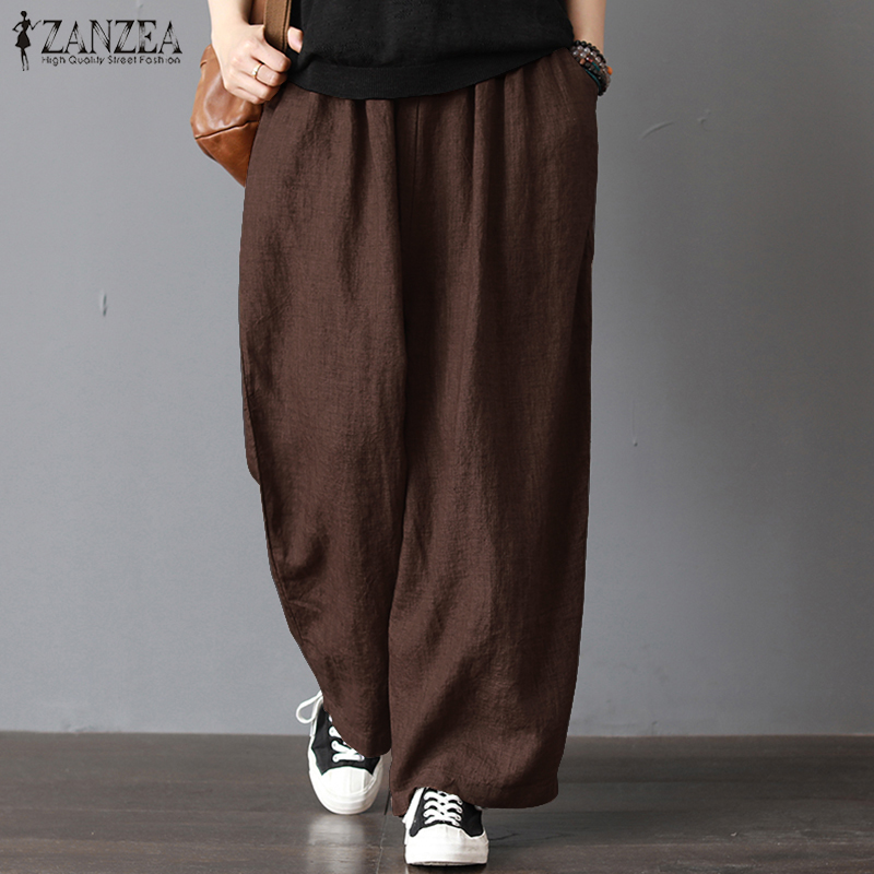 ZANZEA 2019 Women Wide Leg Pants Casual Loose Solid Work Trousers Elastic Waist Pockets Long Pantalon Femme Streetwear Plus Size