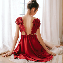 New Angel Wings Sleepwear Women Sling Satin Soft Dress Nightgown Homewear Lingerie Sexy Temptation Sleepshirts